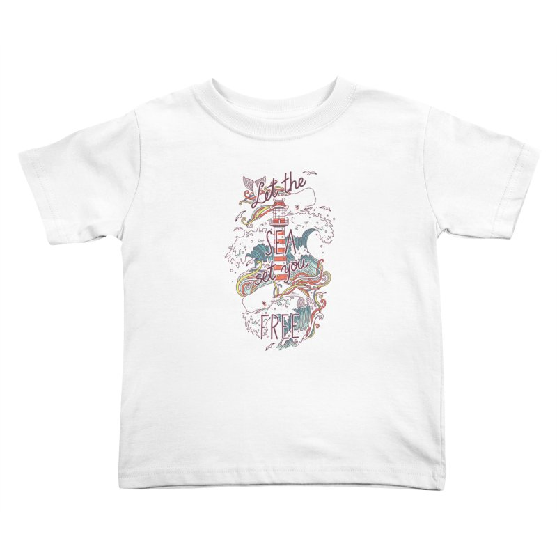 Whales and Waves Kids Toddler T-Shirt by Freeminds