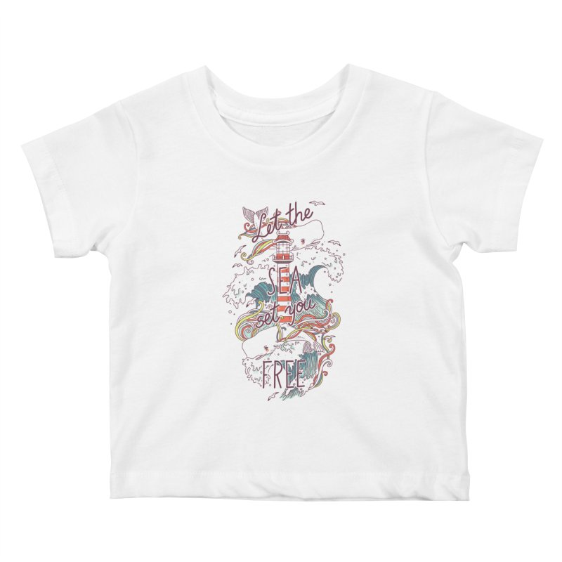 Whales and Waves Kids Baby T-Shirt by Freeminds