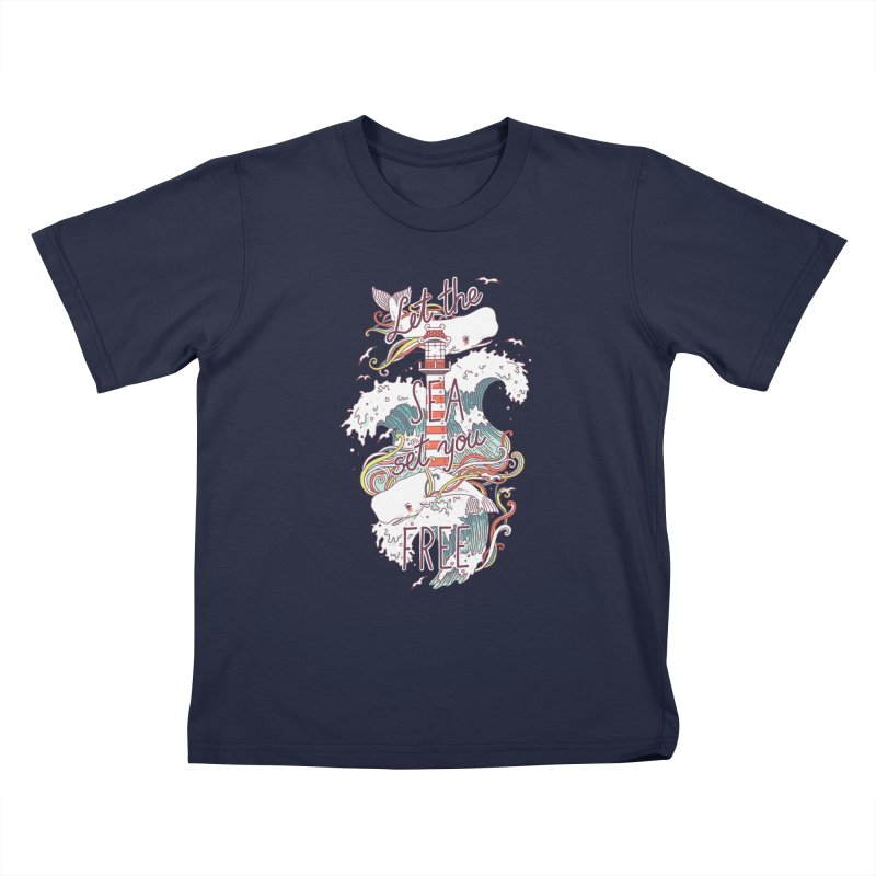 Whales and Waves Kids T-shirt by Freeminds's Artist Shop