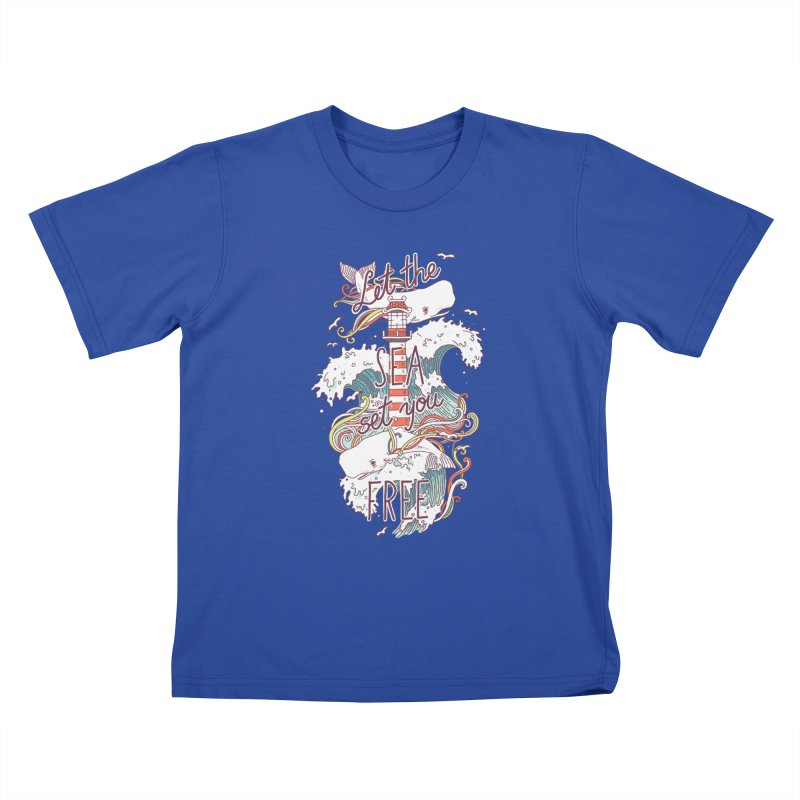 Whales and Waves Kids T-shirt by Freeminds
