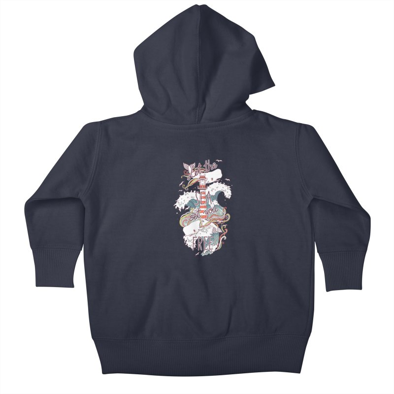 Whales and Waves Kids Baby Zip-Up Hoody by Freeminds's Artist Shop