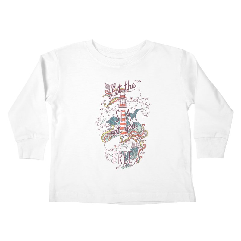 Whales and Waves Kids Toddler Longsleeve T-Shirt by Freeminds