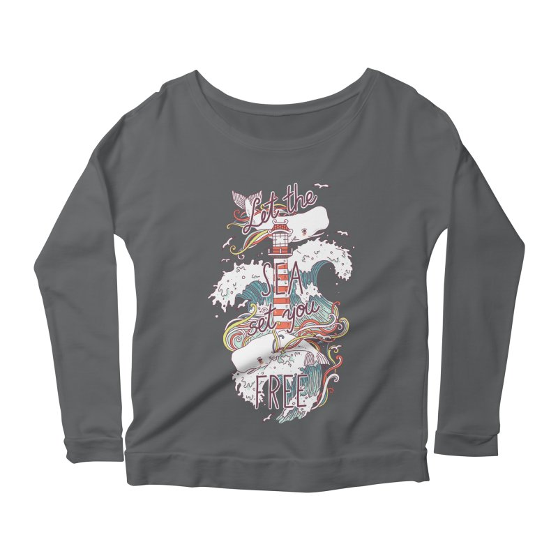 Whales and Waves Women's Longsleeve Scoopneck  by Freeminds