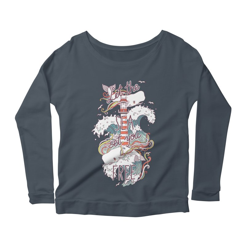 Whales and Waves Women's Longsleeve Scoopneck  by Freeminds's Artist Shop