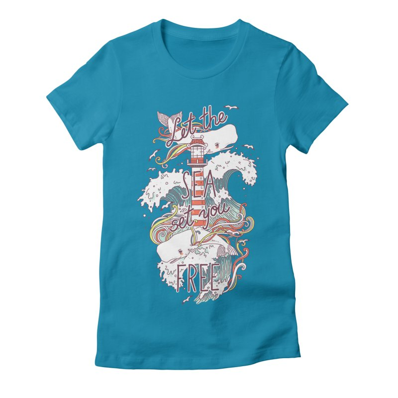 Whales and Waves Women's Fitted T-Shirt by Freeminds