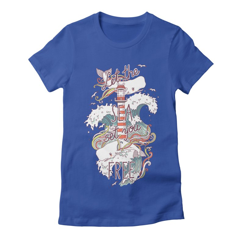 Whales and Waves Women's Fitted T-Shirt by Freeminds's Artist Shop