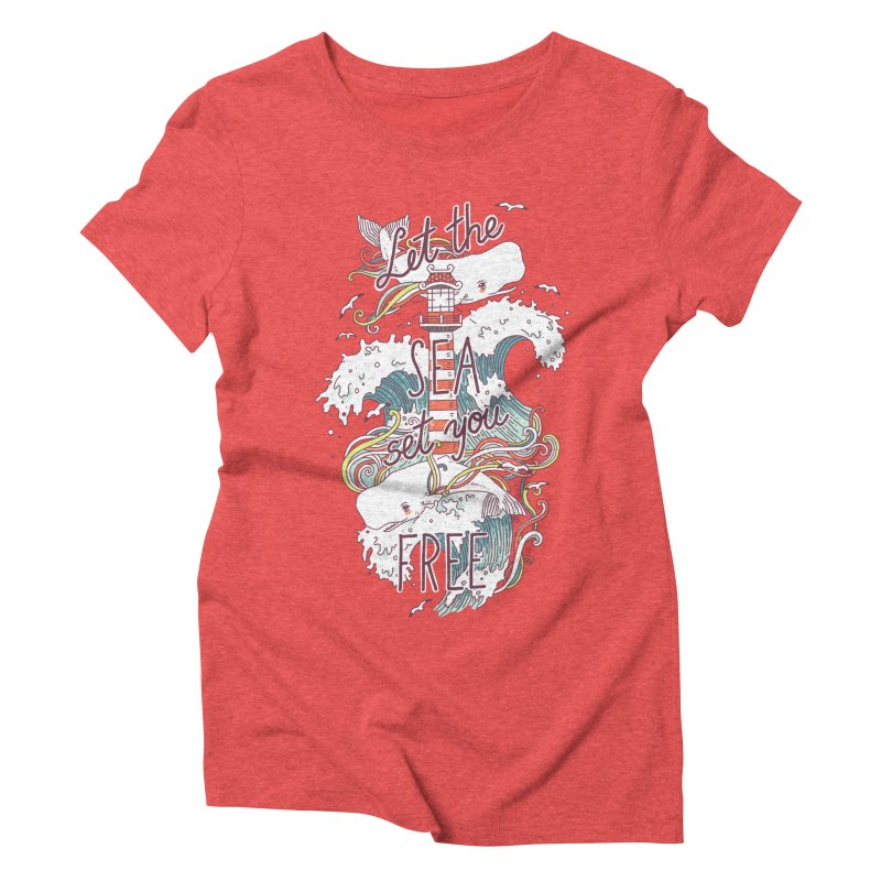Whales and Waves Women's Triblend T-Shirt by Freeminds