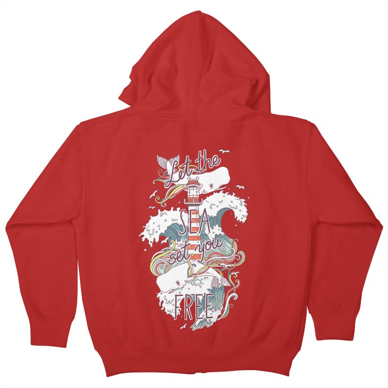 Whales and Waves Kids Zip-Up Hoody by Freeminds's Artist Shop