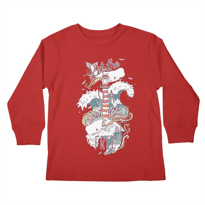 Whales and Waves Kids Longsleeve T-Shirt by Freeminds