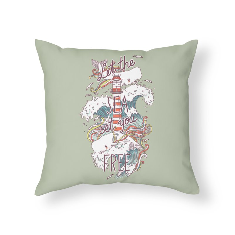 Whales and Waves Home Throw Pillow by Freeminds