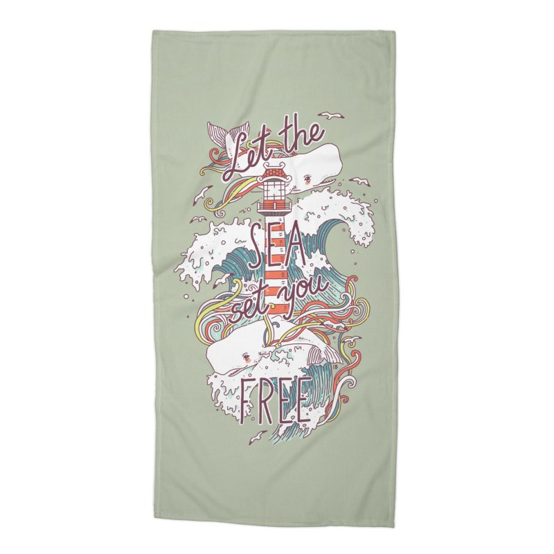 Whales and Waves Accessories Beach Towel by Freeminds