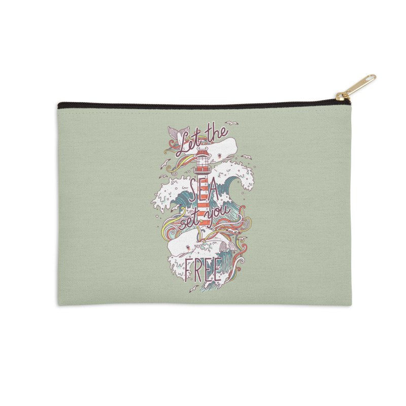 Whales and Waves Accessories Zip Pouch by Freeminds