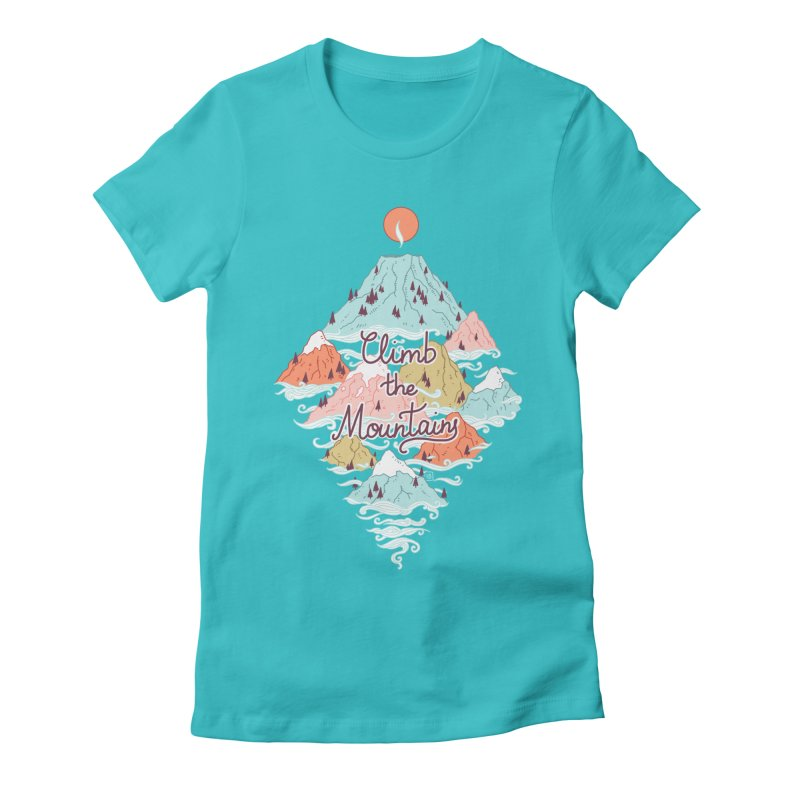 Misty Mountains Women's Fitted T-Shirt by Freeminds's Artist Shop