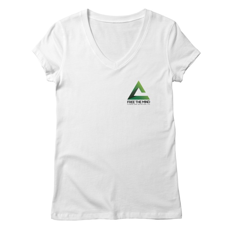 Stacked Logo-Small Women's V-Neck by Free the Mind Fitness Shop