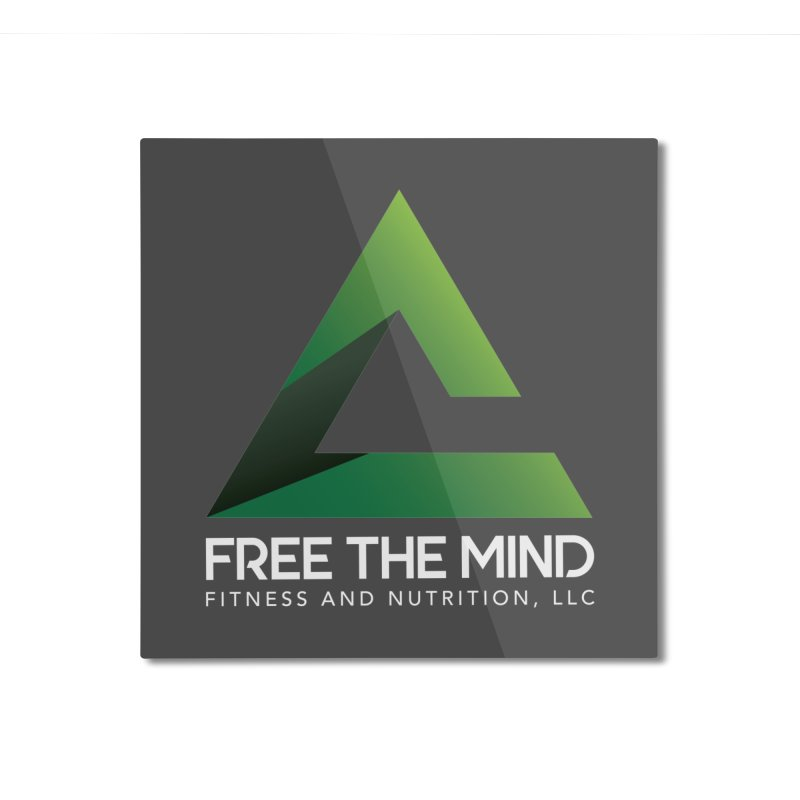 Free the Mind (Stacked, White) Home Mounted Aluminum Print by Free the Mind Fitness Shop