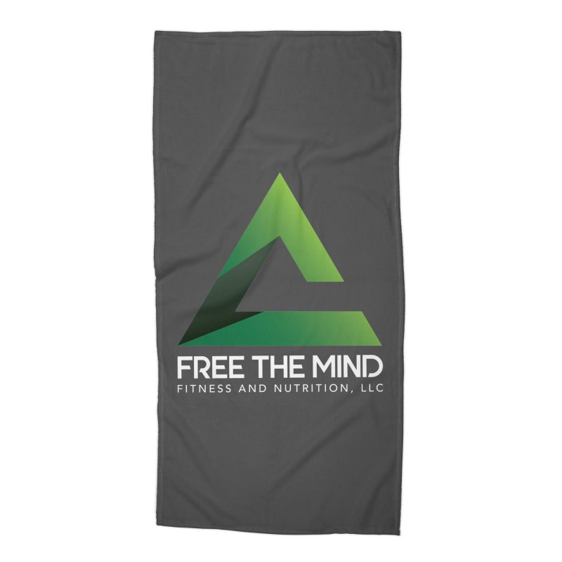 Free the Mind (Stacked, White) Accessories Beach Towel by Free the Mind Fitness Shop