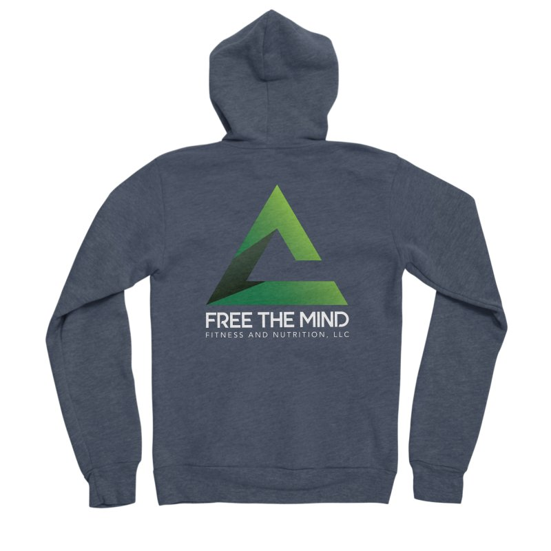 Free the Mind (Stacked, White) Women's Zip-Up Hoody by Free the Mind Fitness Shop