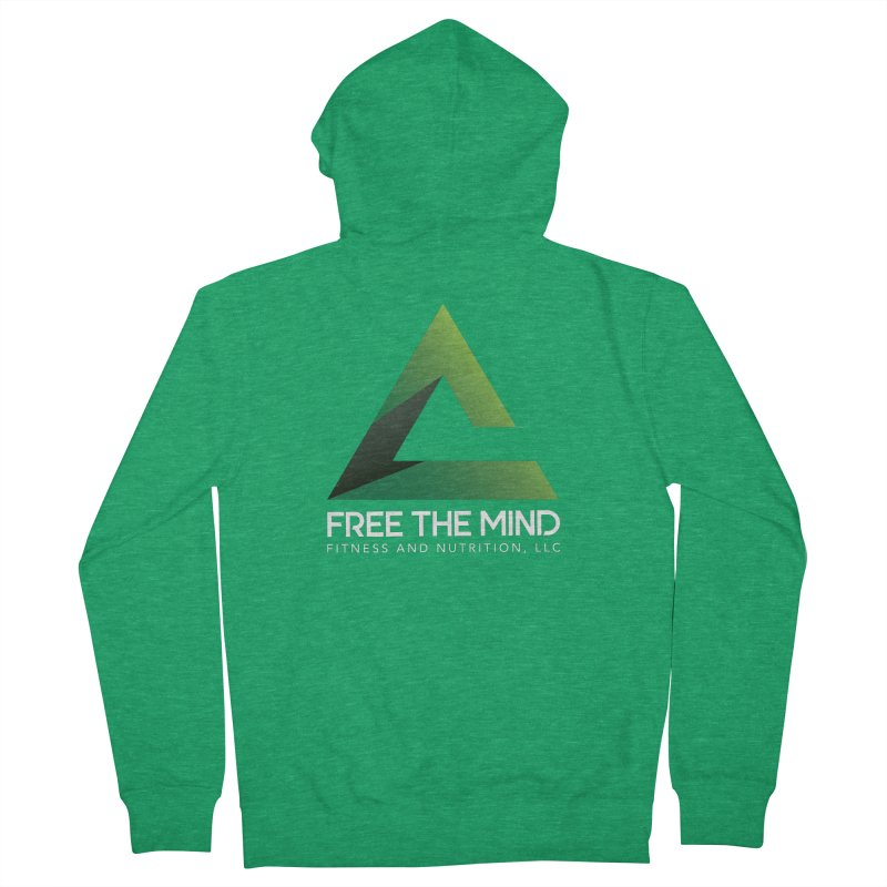 Free the Mind (Stacked, White) Men's Zip-Up Hoody by Free the Mind Fitness Shop