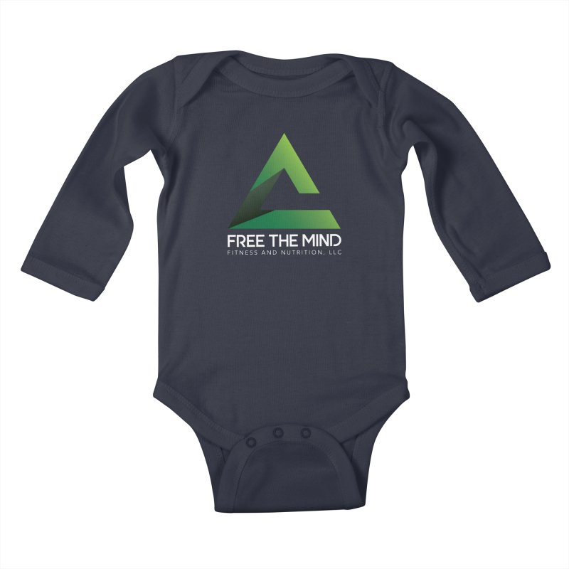 Free the Mind (Stacked, White) Kids Baby Longsleeve Bodysuit by Free the Mind Fitness Shop