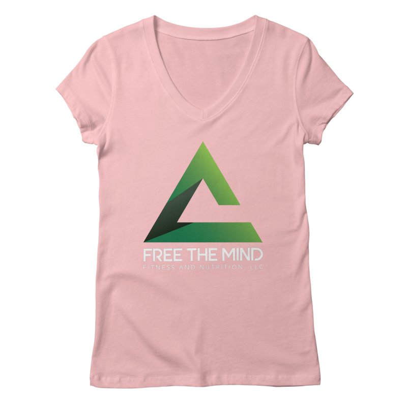 Free the Mind (Stacked, White) Women's V-Neck by Free the Mind Fitness Shop