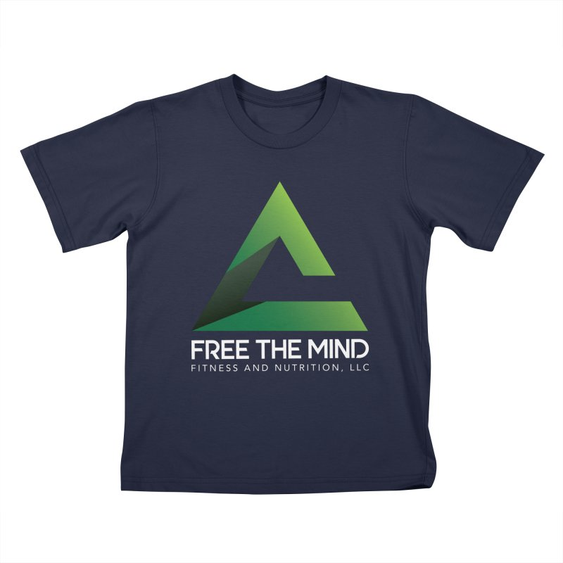 Free the Mind (Stacked, White) Kids T-Shirt by Free the Mind Fitness Shop