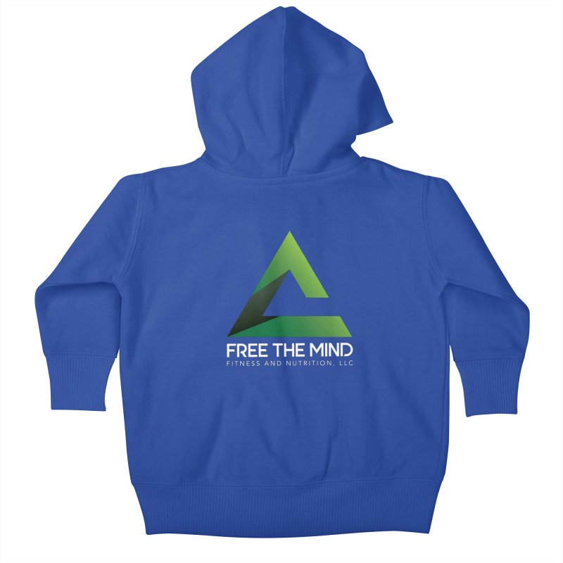 Free the Mind (Stacked, White) Kids Baby Zip-Up Hoody by Free the Mind Fitness Shop