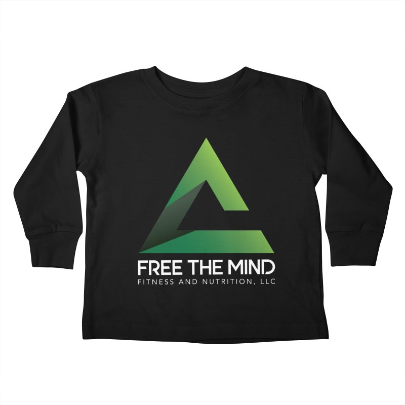 Free the Mind (Stacked, White) Kids Toddler Longsleeve T-Shirt by Free the Mind Fitness Shop