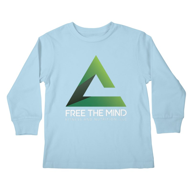 Free the Mind (Stacked, White) Kids Longsleeve T-Shirt by Free the Mind Fitness Shop