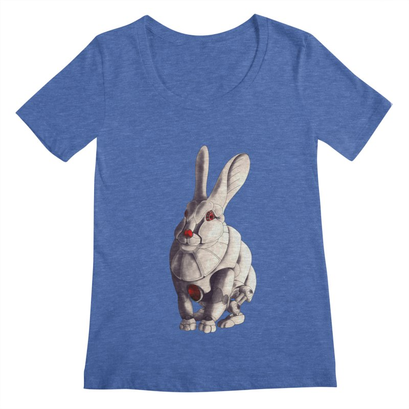 Weiss Hase Uhr Women's Regular Scoop Neck by Frenchi French