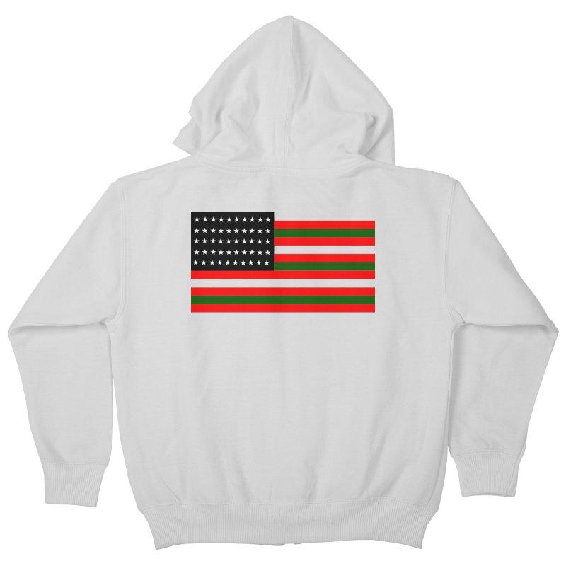 Black N America Kids Zip-Up Hoody by freshkreative's Artist Shop