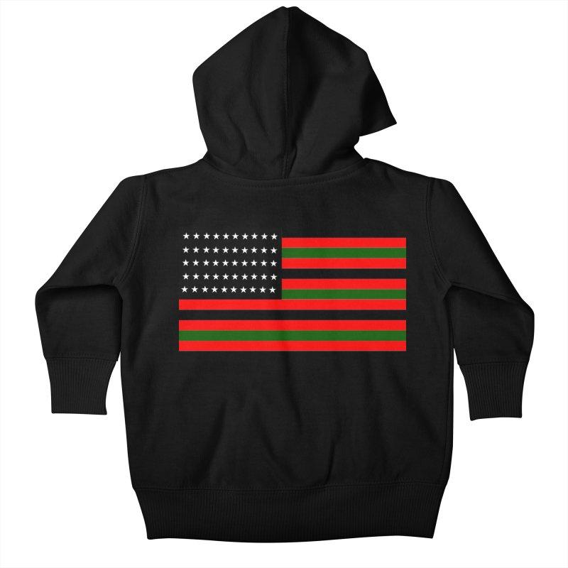 Black N America Kids Baby Zip-Up Hoody by freshkreative's Artist Shop
