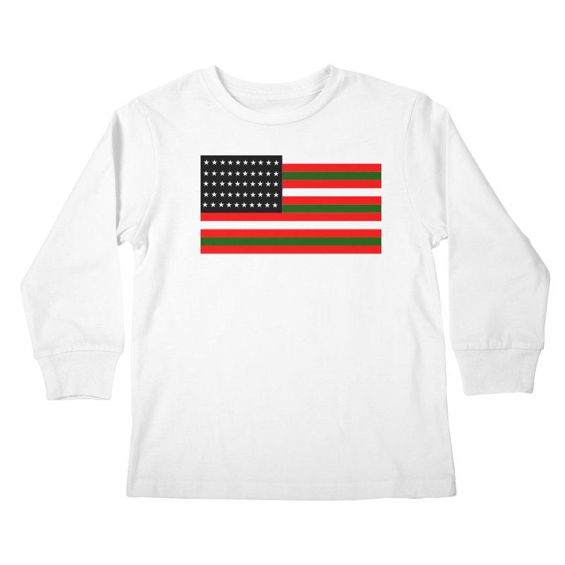 Black N America Kids Longsleeve T-Shirt by freshkreative's Artist Shop