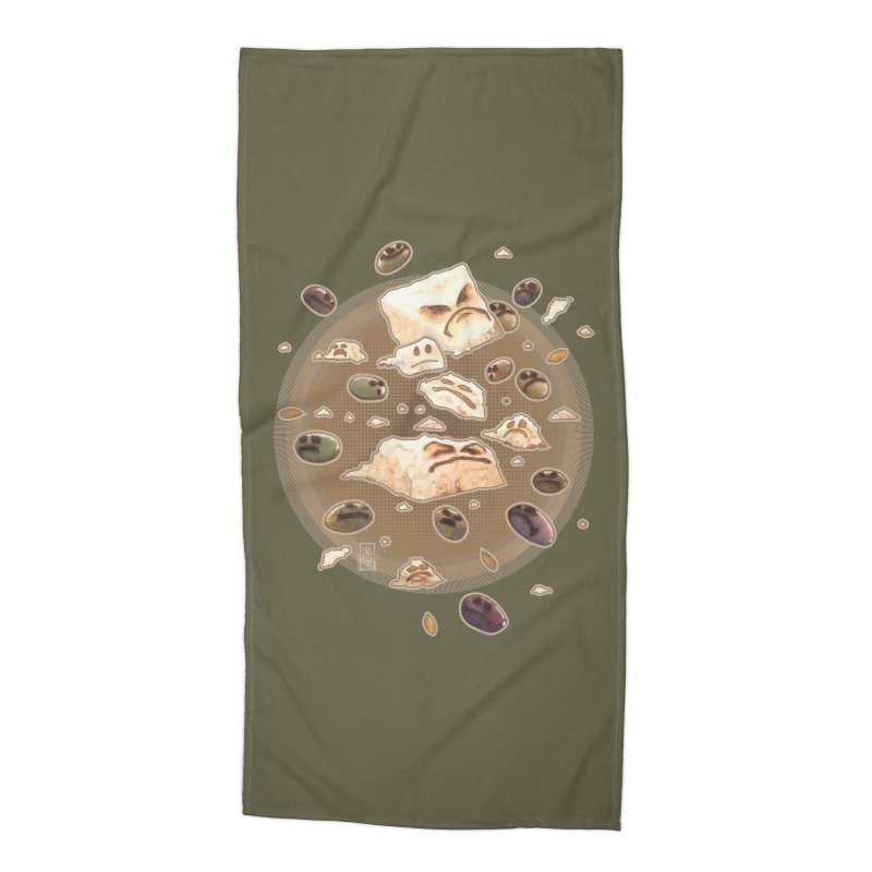 Angry Feta and Olives Accessories Beach Towel by freshoteric's Artist Shop
