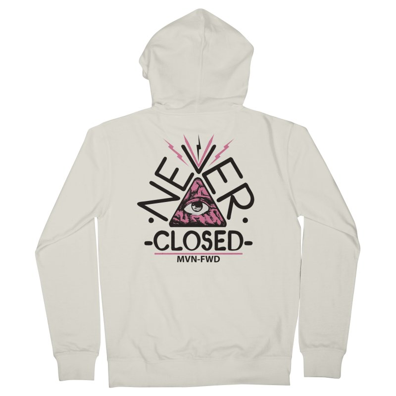 Never Closed  Men's Zip-Up Hoody by Frewil 's Artist Shop