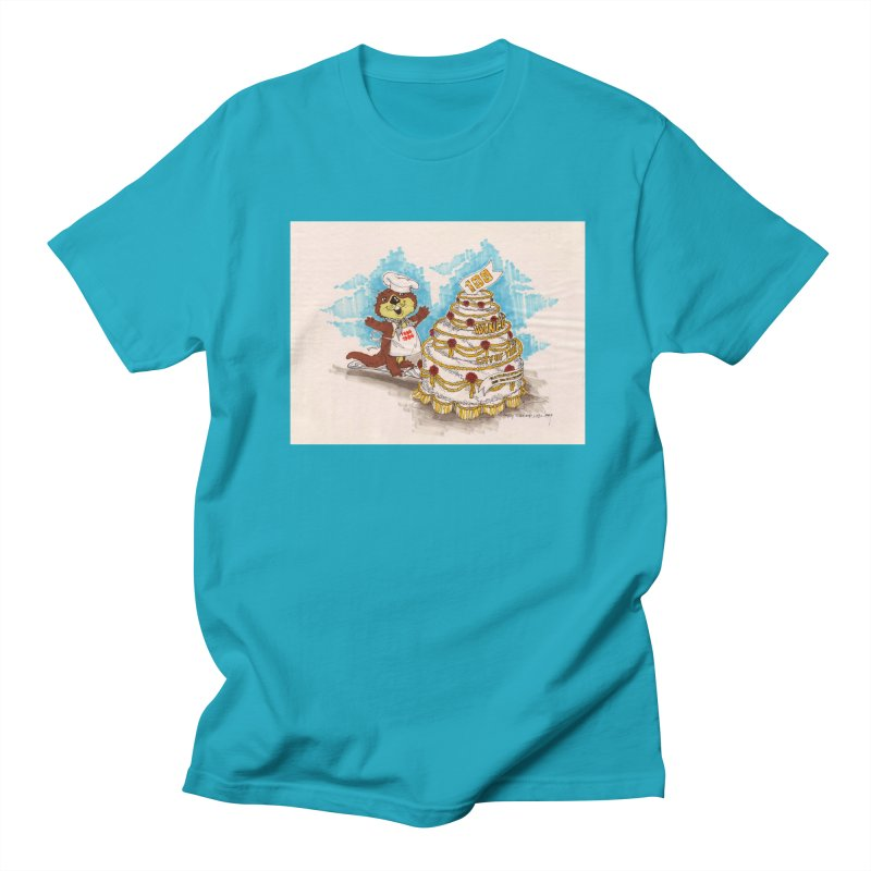 Tillicum and birthday cake in Men's T-Shirt Cyan by Friends of the Vancouver City Archives Shop