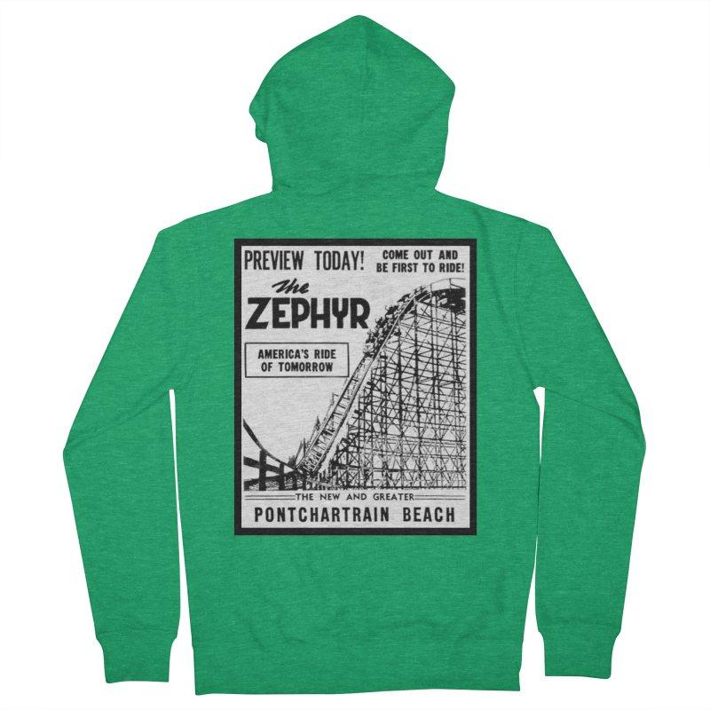 The Zephyr Roller Coaster Pontchartrain Beach New Orleans vintage ad amusement park Milneburg wooden Women's Zip-Up Hoody by Fringe Walkers Shirts n Prints