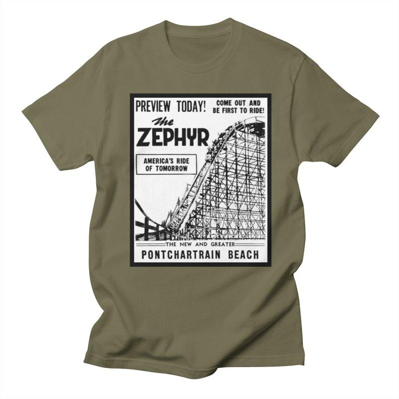 The Zephyr Roller Coaster Pontchartrain Beach New Orleans vintage ad amusement park Milneburg wooden Men's Regular T-Shirt by Fringe Walkers Shirts n Prints