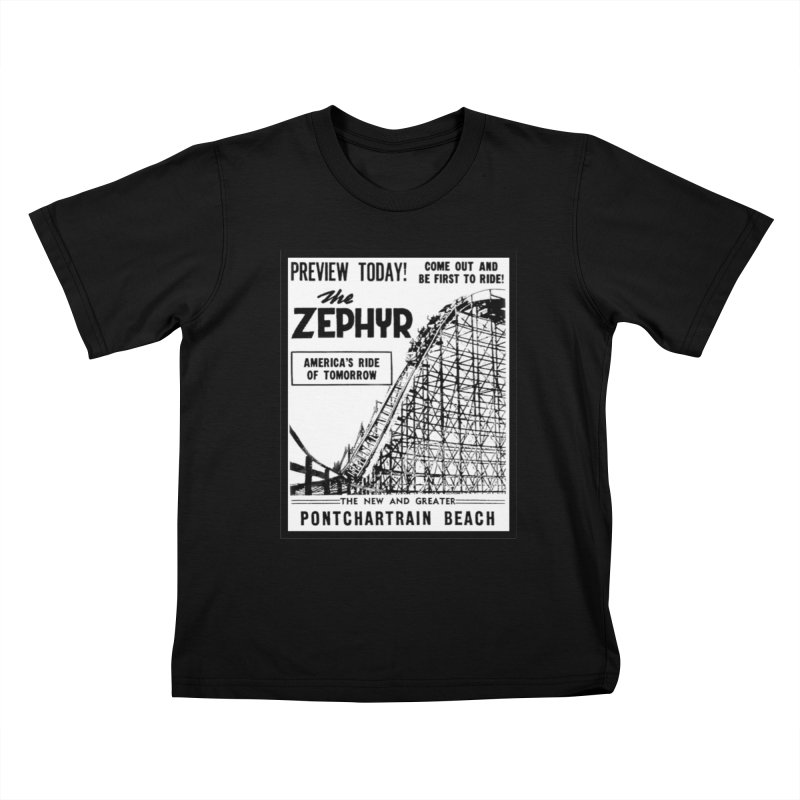 The Zephyr Roller Coaster Pontchartrain Beach New Orleans vintage ad amusement park Milneburg wooden Kids T-Shirt by Fringe Walkers Shirts n Prints