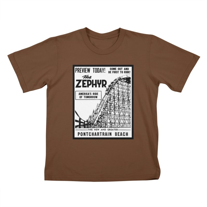 The Zephyr Roller Coaster Pontchartrain Beach New Orleans vintage ad amusement park Milneburg wooden Kids T-Shirt by Fringe Walkers Shirts n Prints
