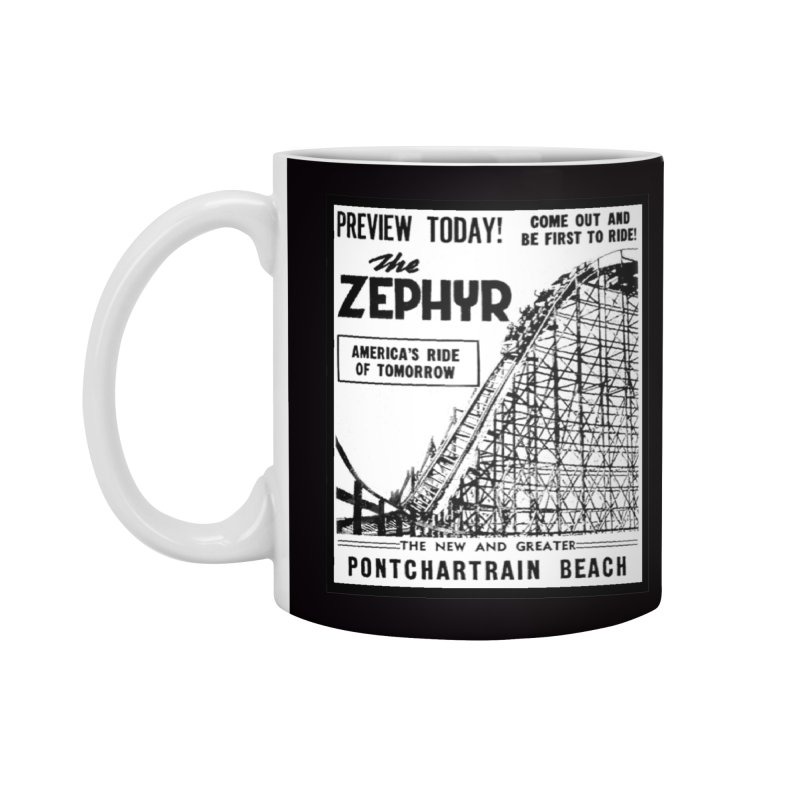 The Zephyr Roller Coaster Pontchartrain Beach New Orleans vintage ad amusement park Milneburg wooden Accessories Standard Mug by Fringe Walkers Shirts n Prints