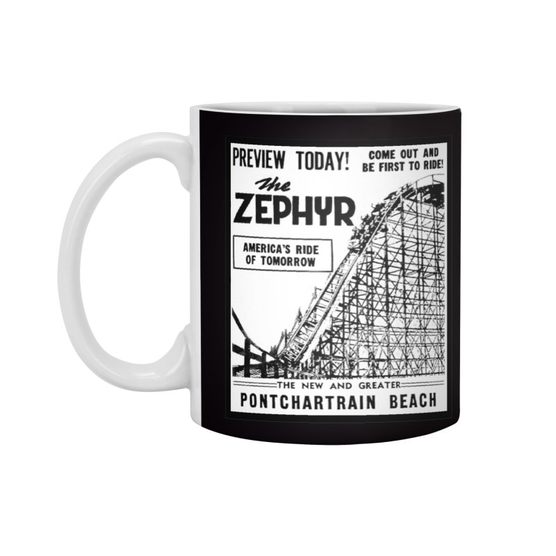 The Zephyr Roller Coaster Pontchartrain Beach New Orleans vintage ad amusement park Milneburg wooden Accessories Mug by Fringe Walkers Shirts n Prints