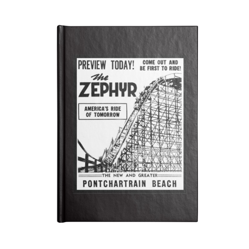 The Zephyr Roller Coaster Pontchartrain Beach New Orleans vintage ad amusement park Milneburg wooden Accessories Blank Journal Notebook by Fringe Walkers Shirts n Prints