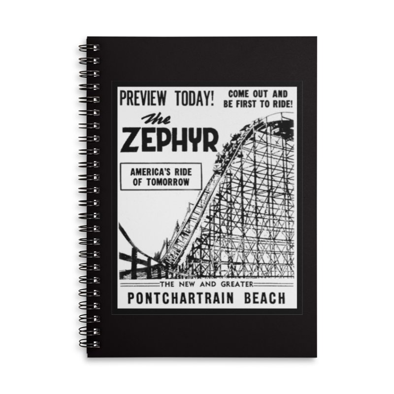 The Zephyr Roller Coaster Pontchartrain Beach New Orleans vintage ad amusement park Milneburg wooden Accessories Lined Spiral Notebook by Fringe Walkers Shirts n Prints