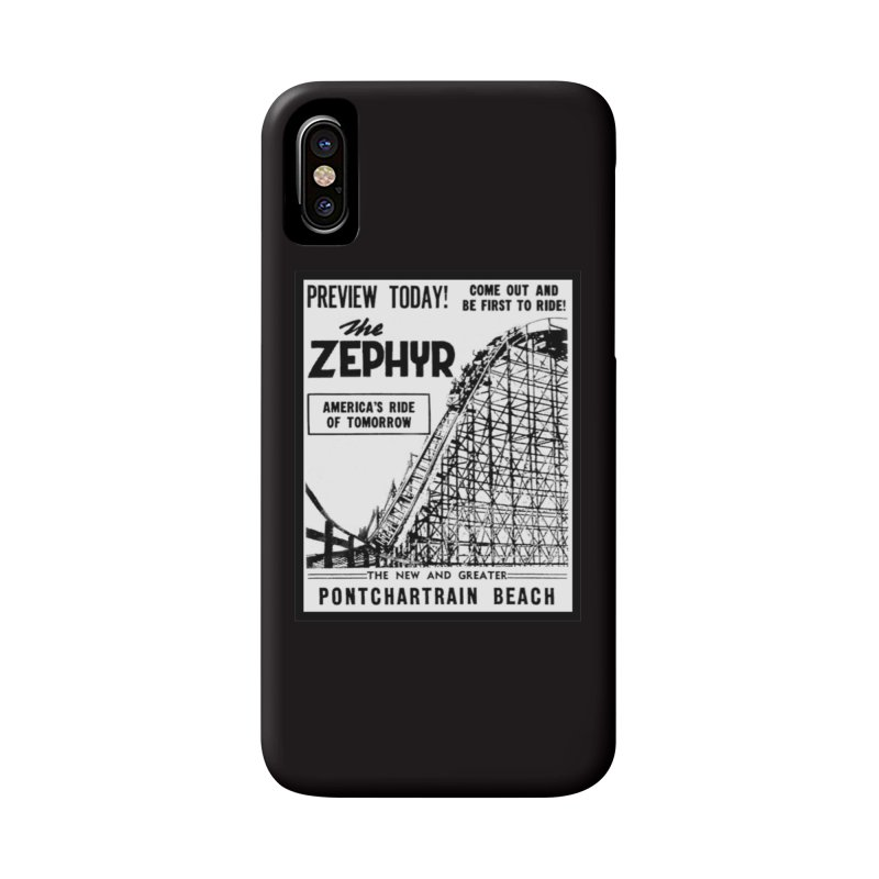 The Zephyr Roller Coaster Pontchartrain Beach New Orleans vintage ad amusement park Milneburg wooden Accessories Phone Case by Fringe Walkers Shirts n Prints