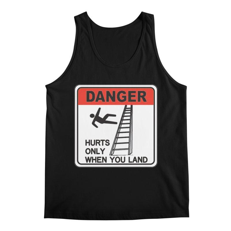Hurts only when you land Danger sign warning label stagehand ladder construction humor Men's Regular Tank by Fringe Walkers Shirts n Prints