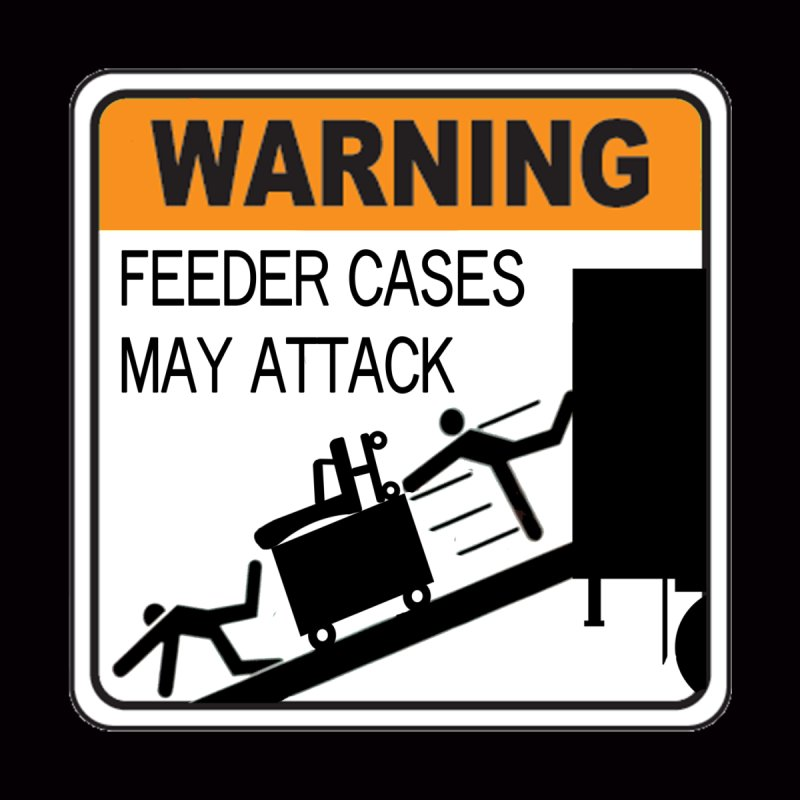 Feeder Cases May Attack Warning Sign Stagehand warning sticker humor T Shirt  by Fringe Walkers Shirts n Prints