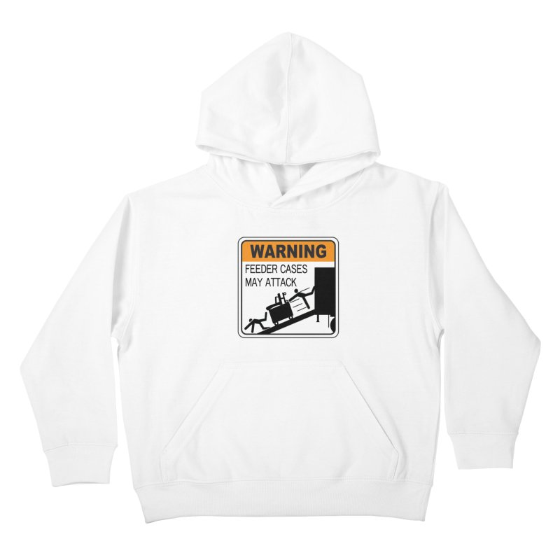 Feeder Cases May Attack Warning Sign Stagehand warning sticker humor T Shirt  Kids Pullover Hoody by Fringe Walkers Shirts n Prints