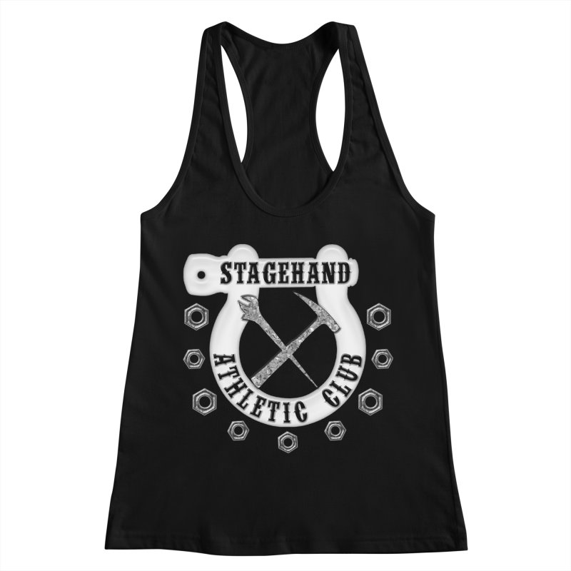 Stagehand Athletic Club Staging Theater tools Crescent Spud Wrench Hammer Nuts Shackle Load in out Women's Racerback Tank by Fringe Walkers Shirts n Prints