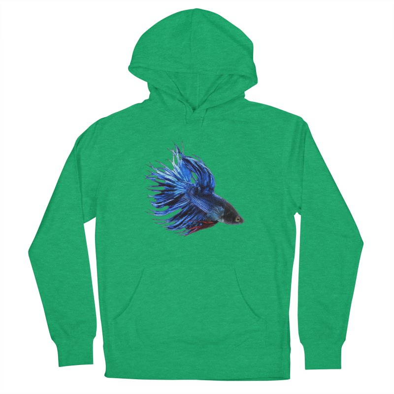 Royal Blue and Red Betta Fish Crowntail Male Swimming Beautiful Colors Women's Pullover Hoody by Fringe Walkers Shirts n Prints