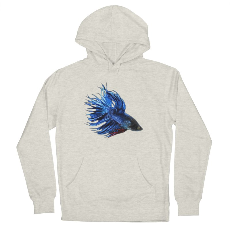 Royal Blue and Red Betta Fish Crowntail Male Swimming Beautiful Colors Women's French Terry Pullover Hoody by Fringe Walkers Shirts n Prints